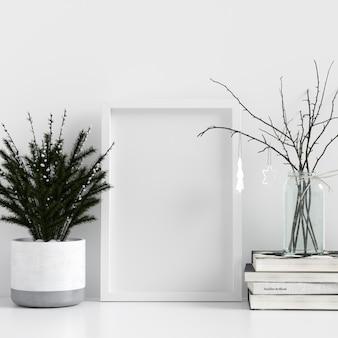 Mock up poster frame branco interior escandinavo decoração de inverno de natal