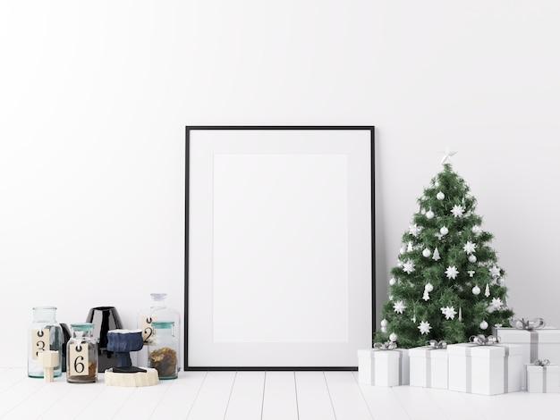 Mock up poster frame com decoração de inverno de natal