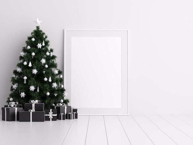 Mock up poster frame com decoração de inverno e dia de natal de boxe