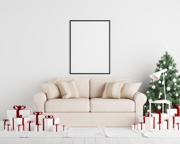 Mock up poster frame fundo de interiores de ano novo de natal