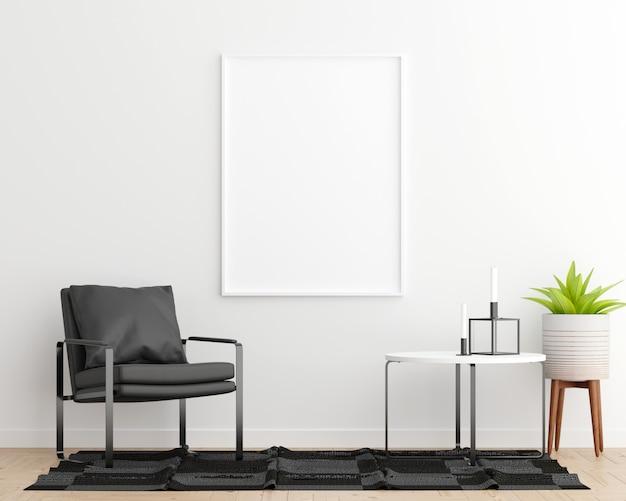 Mock up poster frame fundo interior de sala de estar