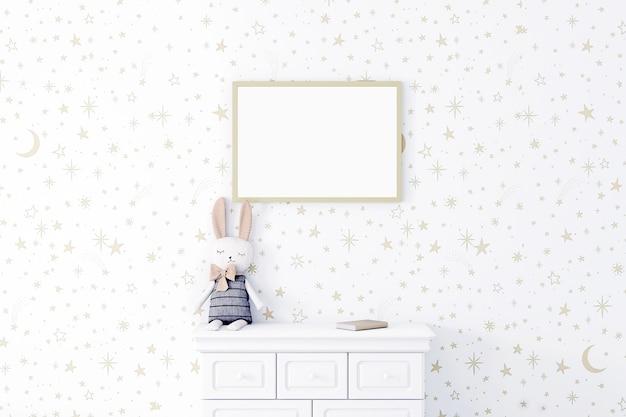 Mock up poster frame in children roomkids roomnursery mockupstar wall3d rendering
