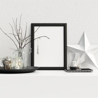 Mock up poster frame interior escandinavo decoração de inverno de natal