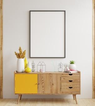 Mock up poster frame no gabinete no interior, renderização branca em wall.3d