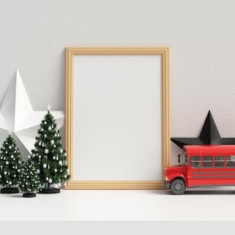 Mock up poster frame no interior do natal escandinavo e decoração de inverno