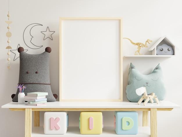 Mock up poster no quarto da criança