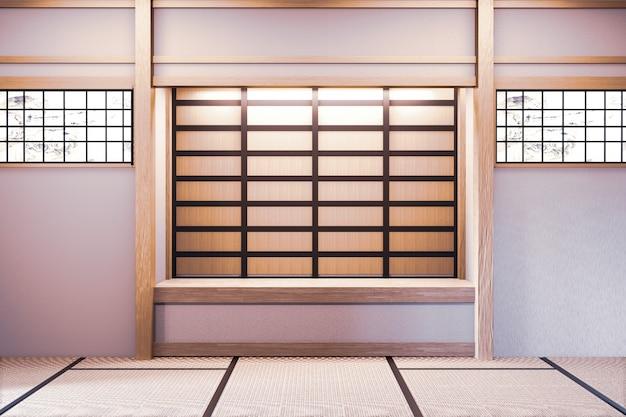 Mock up, projetado especificamente em estilo japonês, sala vazia. renderização em 3d