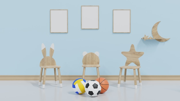 Mock up quarto infantil tem 3 quadros na parede, com uma cadeira infantil e futebol colocado na frente.