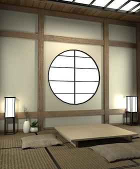 Mock up quarto japão com piso tatami e decoração estilo japão foi projetado em estilo japonês.