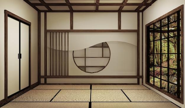 Mock up, quarto vazio japonês tatami mat projetando o mais bonito. renderização 3d