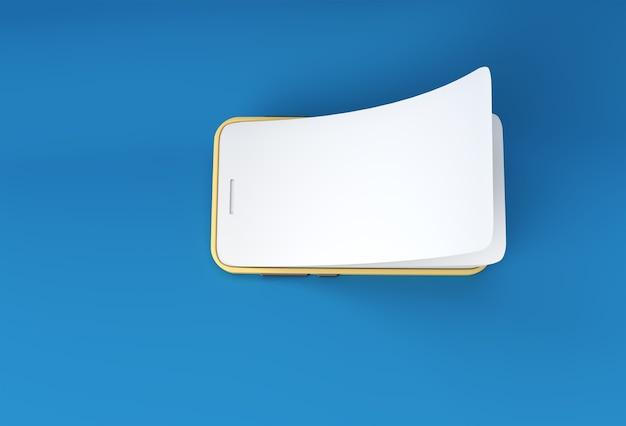 Mock-up smart phone com renderização 3d screen protector glass de substituição de tela vazia.