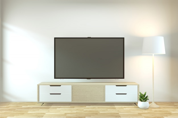 Mock up tv armário no zen moderno quarto vazio japonês minimalista estilo