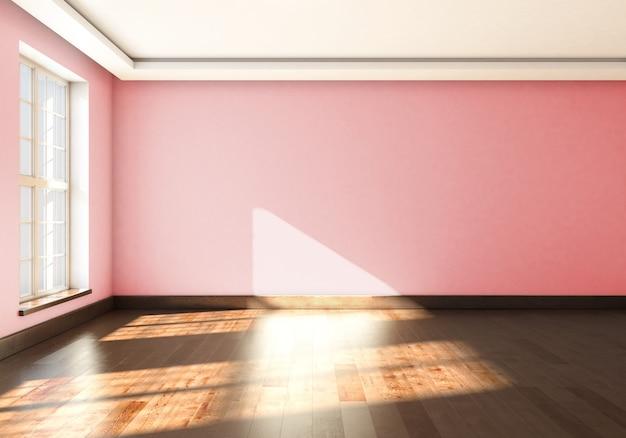 Mock up vazio interior com grande janela de renderização em 3d.