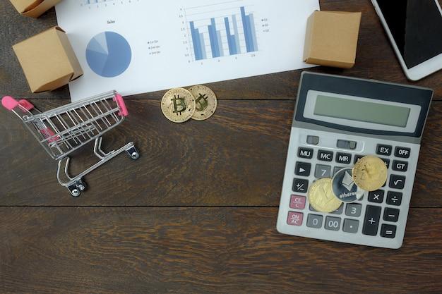 Mock up vista superior mesa de escritório de negócios