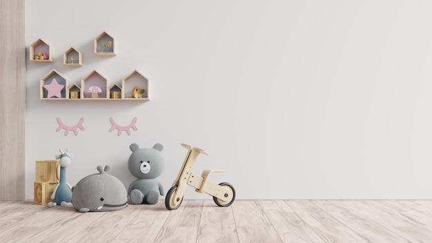 Mockup de parede no quarto das crianças na parede de fundo branco. renderização 3d
