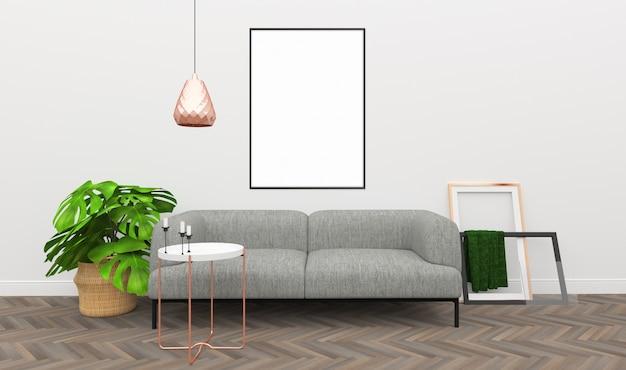 Mockup interior - decoração de ouro rosa