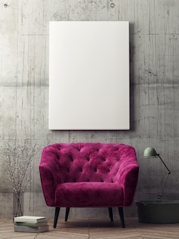 Mockup pôster moderno sala de estar