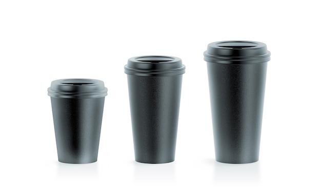 Mockups de copo de papel descartável preto em branco com tampas, grande, médio e pequeno