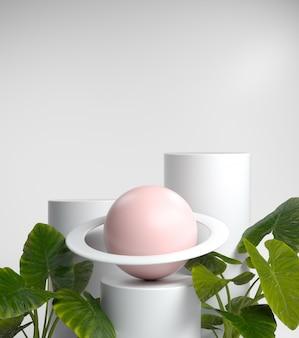 Moda abstrata de exibição em branco para mostrar produtos ou cosméticos com venus e plantas tropicais, renderização em 3d