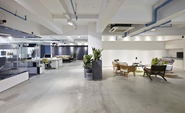 Moda e interiores de escritórios modernos