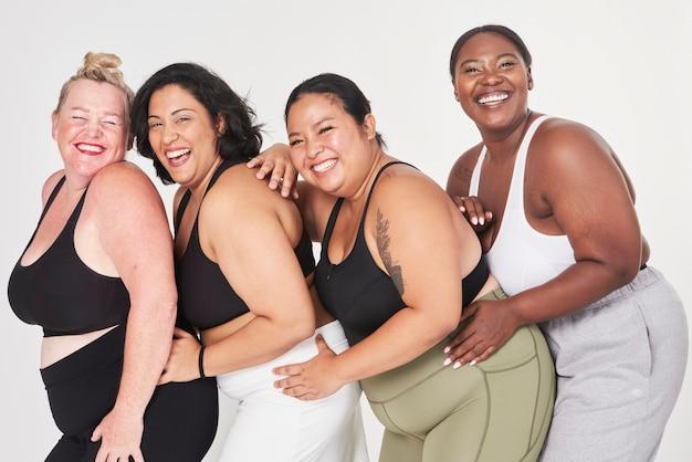 Moda esportiva feminina com curvas diversas positividade corporal