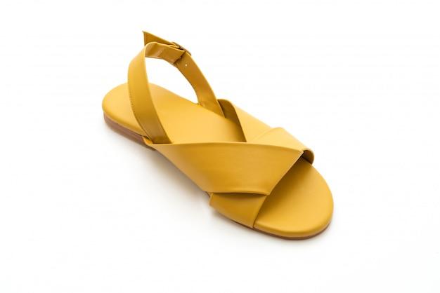 Moda feminina e sandálias de couro de mulher com slingback