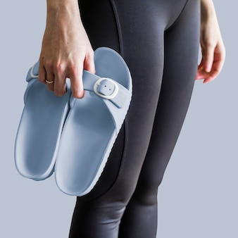 Moda feminina sandália azul