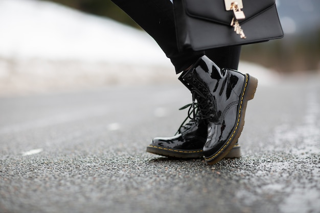 Moda feminina sapatos de couro para o outono, primavera, inverno europeu.