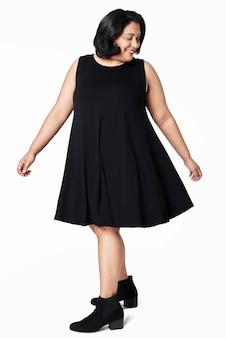 Moda feminina vestido plus size preto