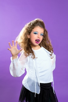 Moda infantil, assustando, menina maquiagem, criança, ligado, roxo