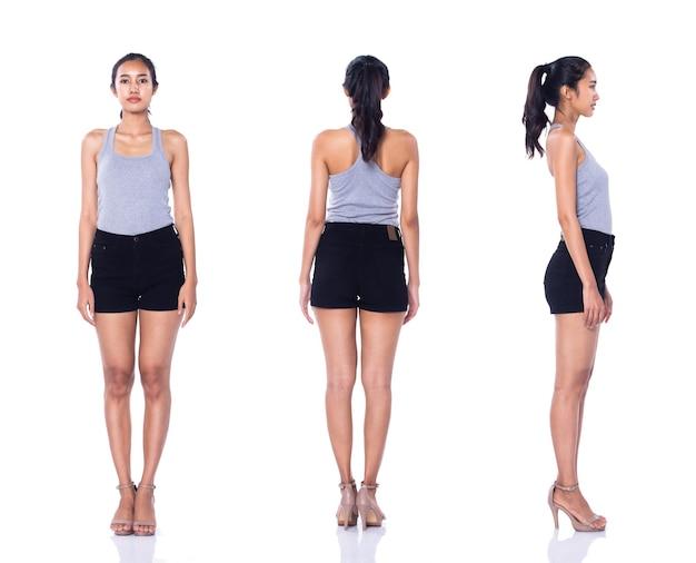 Moda jovem bronzeado 20 anos mulher asiática cinza vestido vasto calça preta calça sapatos de salto alto posar olhar de perfil atraente. iluminação do estúdio branco fundo isolado colagem pacote de grupo comprimento total 360