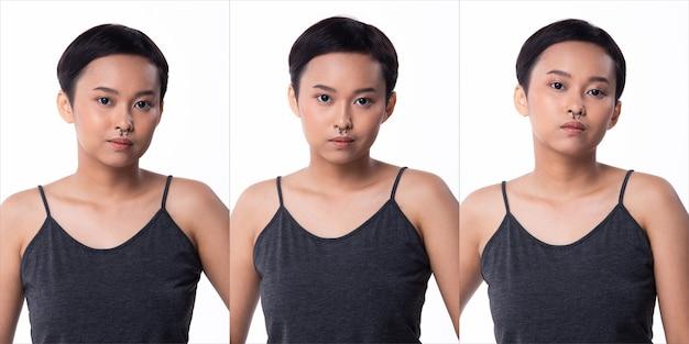 Moda jovem pele bronzeada mulher asiática cabelos com franjas curtas usar jeans vastos cinza e sapatos de plataforma alta. iluminação de estúdio branco fundo isolado, colagem pacote de grupo retrato rosto emoção sentimento