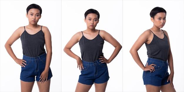 Moda jovem pele bronzeada mulher asiática cabelos com franjas curtas usar jeans vastos cinza e sapatos de plataforma alta. iluminação de estúdio branco fundo isolado, colagem pacote grupo retrato meio corpo