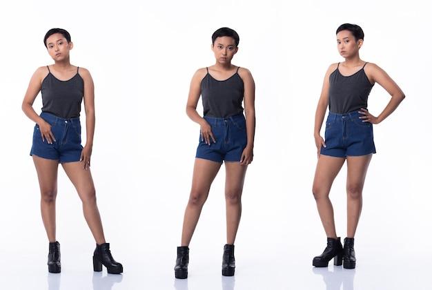 Moda jovem pele bronzeada mulher asiática cabelos com franjas curtas usar jeans vastos cinza e sapatos de plataforma alta. iluminação de estúdio com fundo branco isolado, suporte de corpo inteiro de pacote de grupo de colagem