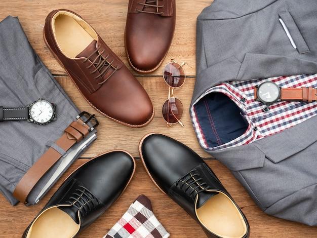 Moda masculina conjunto de roupas casuais e acessórios