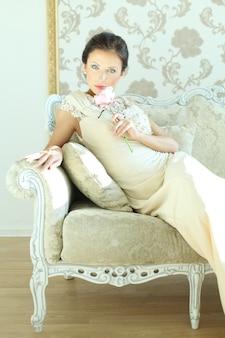 Moda mulher com maquiagem glamour