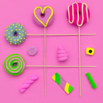 Moda sweet mix.pink candy minimal flatlay art.