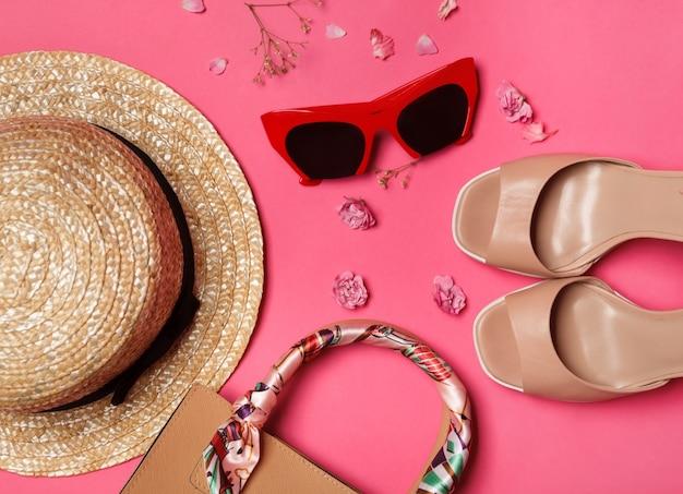 Moda verão mulheres roupas conjunto com óculos de sol, sapatos e acessórios