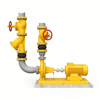Modelo 3d amarelo de uma seção de bomba e tubulação industrial com válvulas de corte em um fundo branco e isolado. ilustração 3d.