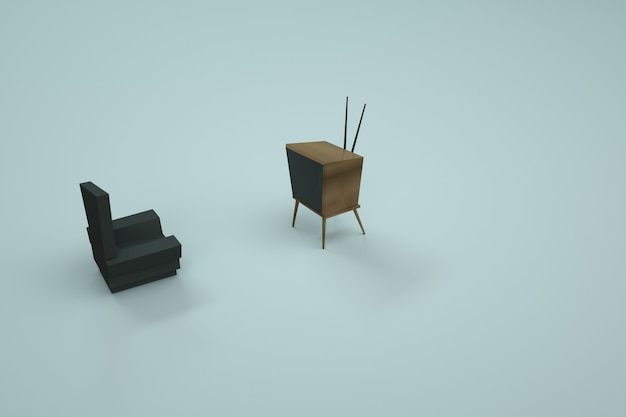 Modelo 3d da cadeira e tv. móveis para casa em um fundo colorido. gráficos de computador. objetos isolados em um fundo branco