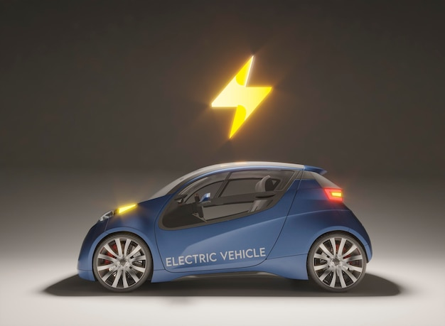 Modelo 3d de carro elétrico com símbolo de bateria carregada