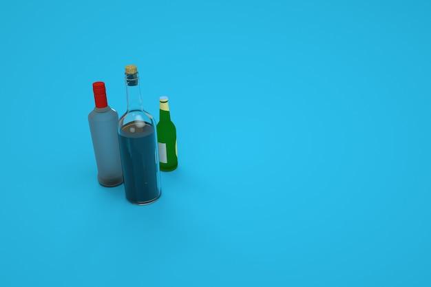 Modelo 3d de garrafas de vidro. garrafas de vidro do bar. bebidas, tinturas ou óleos. modelos isométricos, computação gráfica. fundo azul
