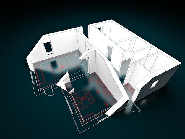 Modelo 3d de um apartamento em um desenho em um corte