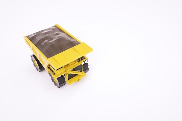 Modelo 3d de um caminhão amarelo. máquina de carregamento para construção. gráficos 3d. caminhão isolado em um fundo branco.