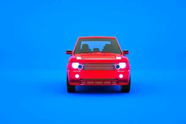 Modelo 3d de um carro de passageiros vermelho sobre um fundo azul isolado modelo gráfico de um carro de passageiros