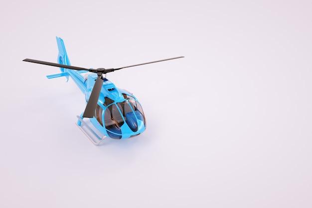Modelo 3d de um helicóptero em um fundo branco. helicóptero azul sobre um fundo colorido. gráficos de computador. helicóptero isolado em um fundo branco.