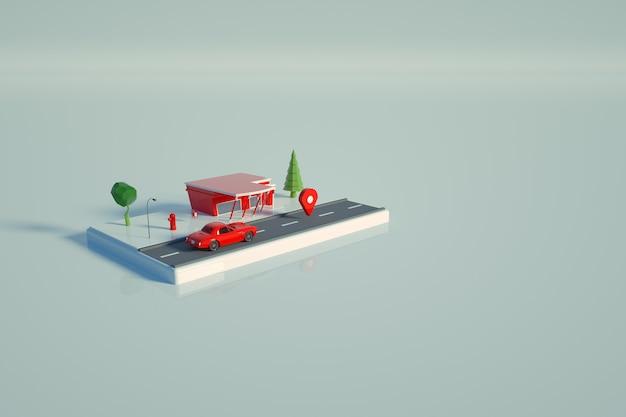Modelo 3d de um posto de gasolina vermelho. objeto de um posto de gasolina vermelho para carros em um fundo branco e isolado, de pé na plataforma. vista superior, vista lateral