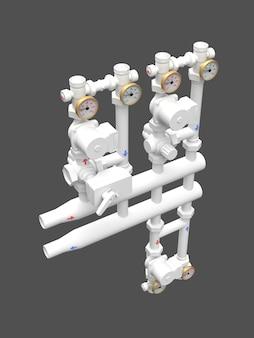 Modelo 3d de uma bomba industrial e seção de tubo com válvulas de corte. ilustração 3d.