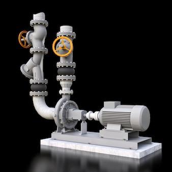 Modelo 3d de uma bomba industrial e seção de tubulação com válvulas de corte em um fundo preto isolado. ilustração 3d.