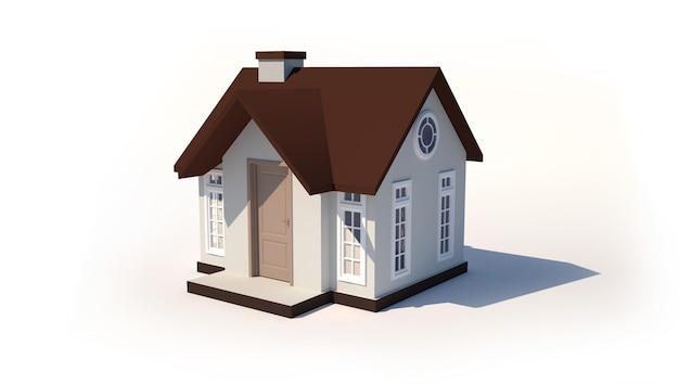 Modelo 3d de uma casa pequena isolada